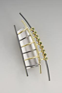 Custom Made Sterling And Oxidized Silver, Gold And Peridot Brooch