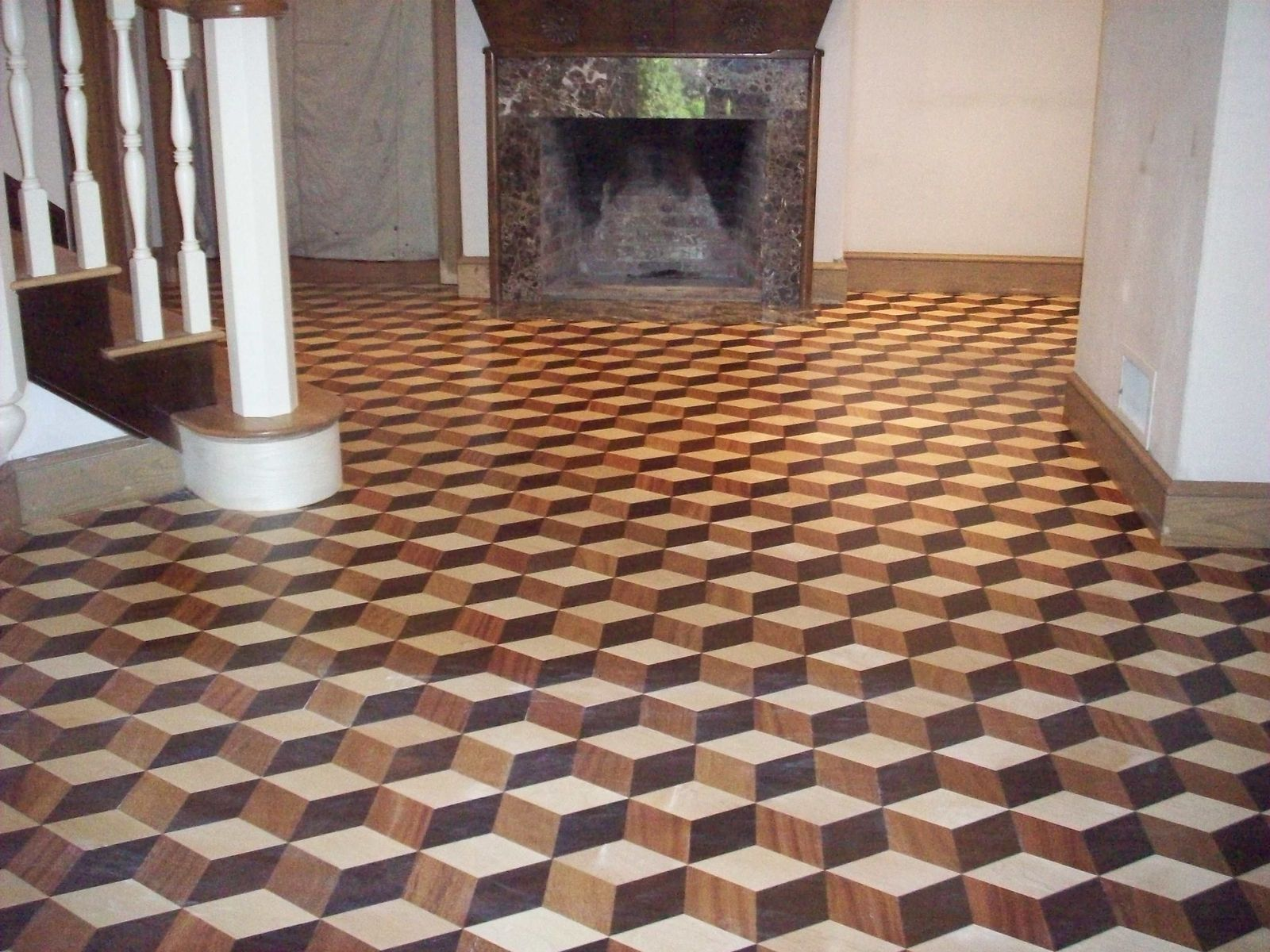 Hand crafted inlaid hardwood floor by broughton woodworks for Hard floor tiles
