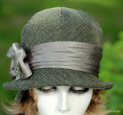 Custom Made Classic Downton Abbey 20'S Style Cloche Hat In Textured Olive Fabric