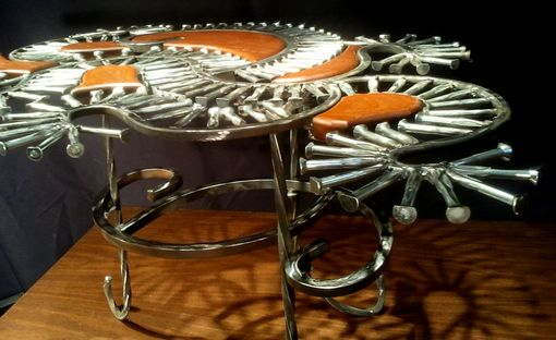 Custom Made Sculptural Iron And Ipey Coffee Table. Brazilian Walnut. Available In Any Size