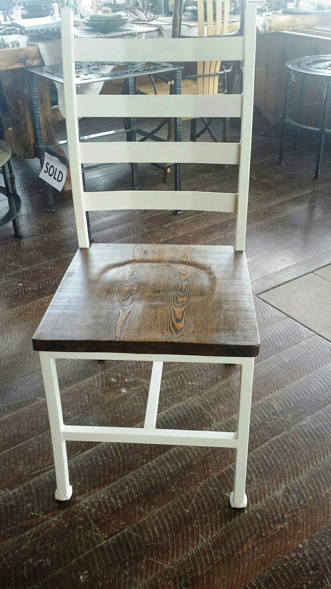 Custom Made Handcrafted Wrought Iron Dining Chair With Wood Seat In A Dark Walnut Finish