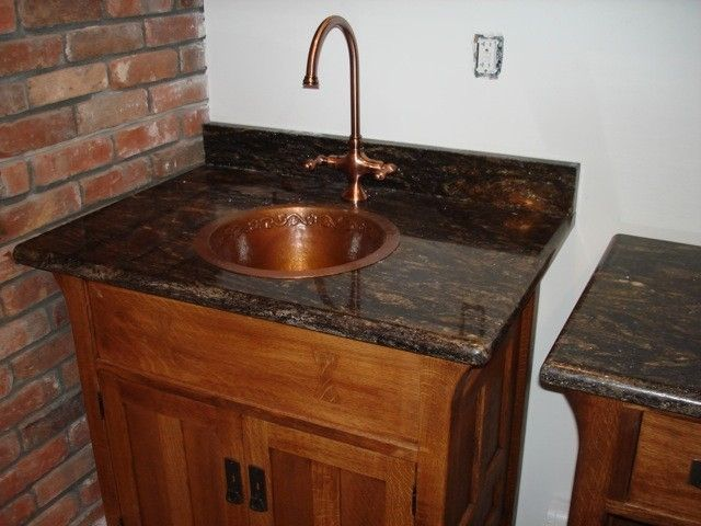 Hand Made Arts And Crafts Quartersawn Oak Bar, Sink, & Cabinet by ...