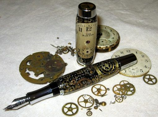 Custom Made Pocket Watch Parts Pen,  Steampunk Pen