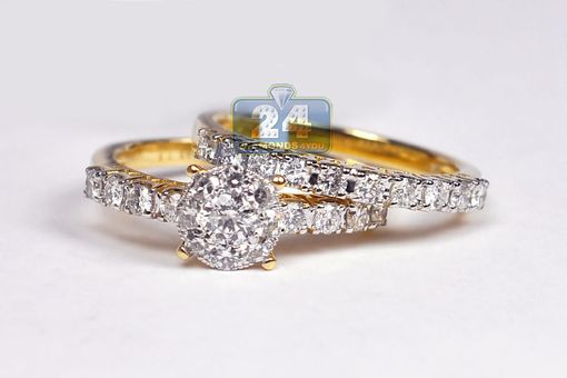 Custom Made Womens Diamond Engagement Two Ring Set 14k Yellow Gold 1.26 Ct Round Cut