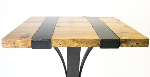 Custom Made Reclaimed Wood And Welded Iron Pub Table