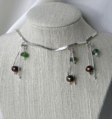 Custom Made Cascade Of Gems Necklace With Emerald Sea Glass, Pearls, And Herkimer Diamonds
