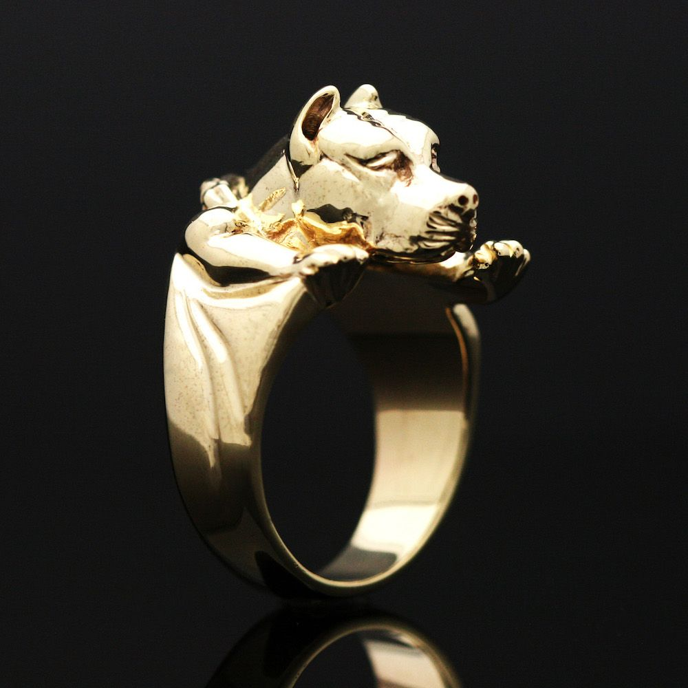 Custom yellow gold pitbull ring by mava style custommade custom made yellow gold pitbull ring aloadofball Choice Image