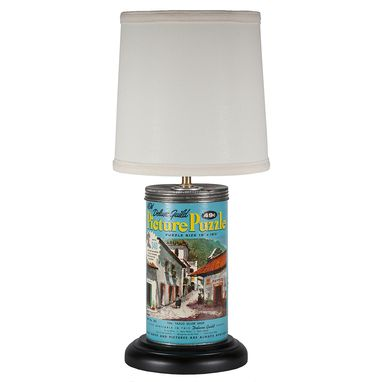 Custom Made Vintage Jigsaw Puzzle Container Upcycled Lamp With New Lampshade