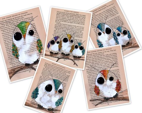 Custom Made Owl Art Prints - Set Of 5 Owl Are Prints In 5x7 Size
