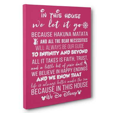 Custom Made In This House Disney Canvas Wall Art – Multiple Colors