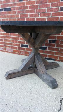 Custom Made Round Fancy X Dining Table, Farmhouse Dining Table, Rustic Table, Reclaimed Wood Table