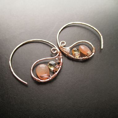 Custom Made Modern And Unique Wire Wrapped Gemstone Earrings