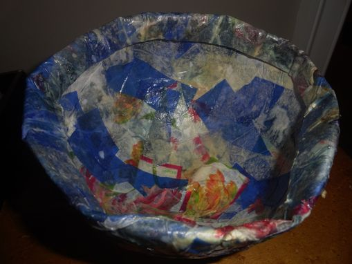 Custom Made Paper Mache Bowl W/Dried Flowers