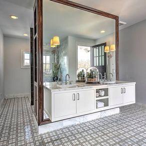 floating vanity mirror frame and side cabinets