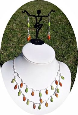 Custom Made Fashion Green And Orange Tears Jewelry Set