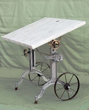 Custom Made Iron And Bronze Drafting Desk With Marble Top