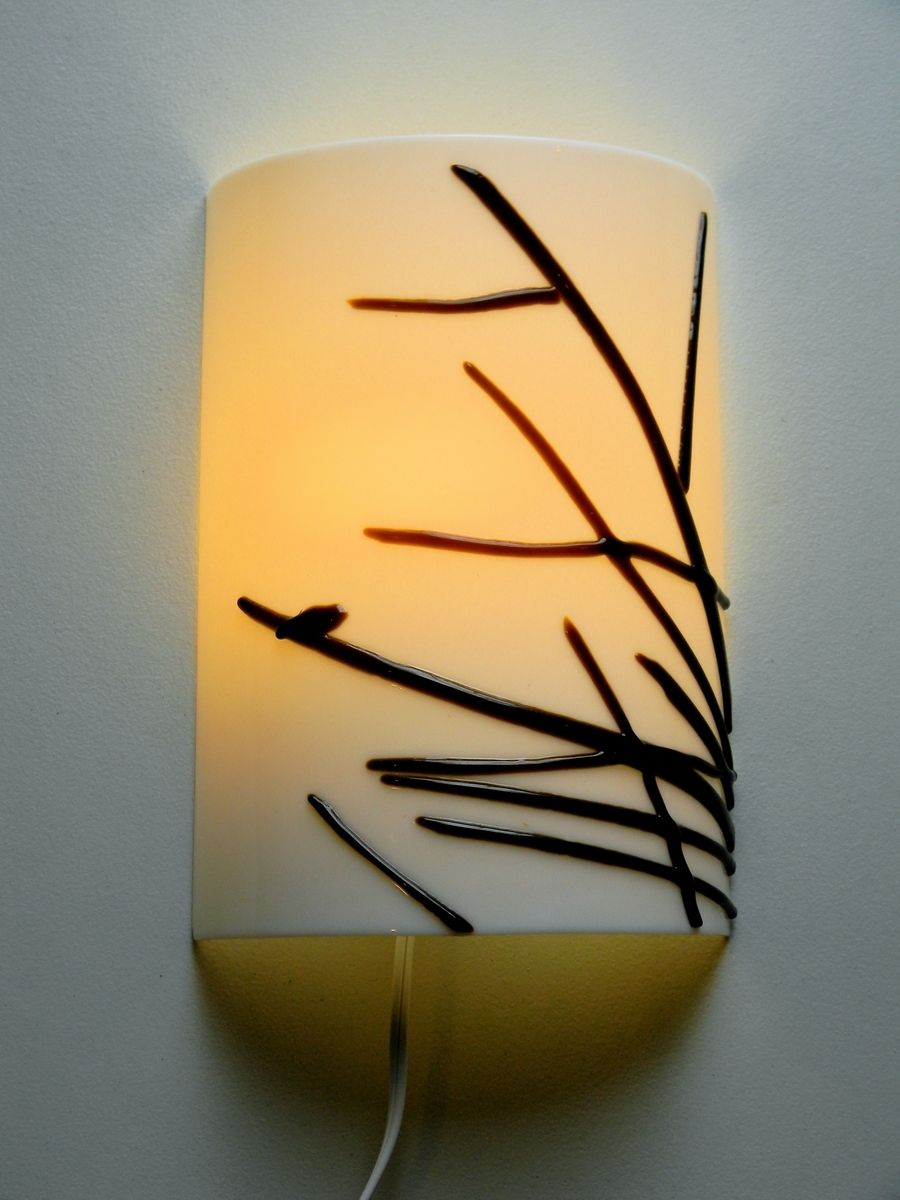 Buy a Hand Made Sparrow Silhouette Fused Glass Wall Sconce, made to ...