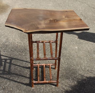 Custom Made Walnut & Copper Pipe Side Table/Stand With Two Shelves