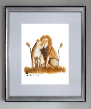 Custom Made Lion Family - Original Watercolor Illustration