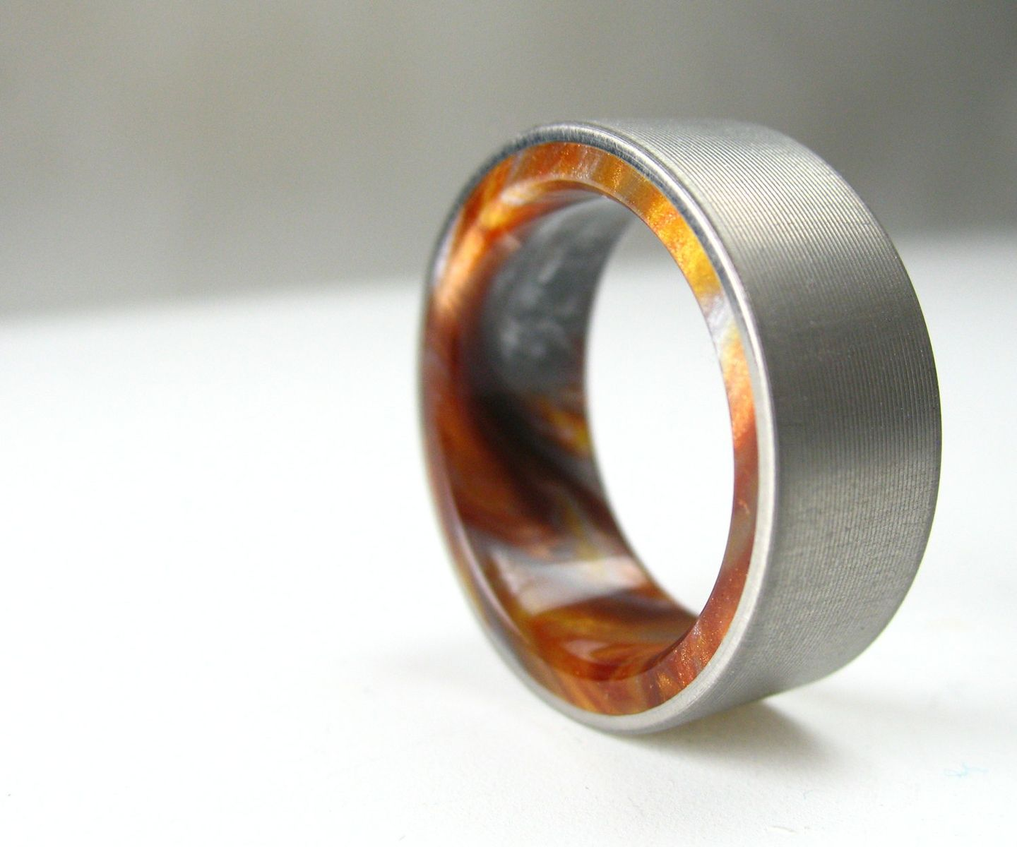 buy a handmade titanium wood tone burl mens wedding band iced