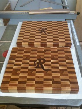 Custom Made Monogrammed End Grain Cutting Boards