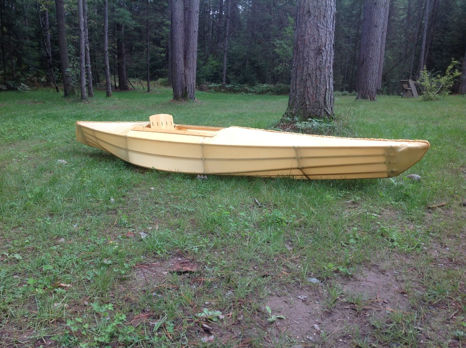 Hand Crafted Skin On Frame Wood Kayak With Polyester Skin