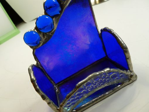 Custom Made Custom Stained Glass Business Card Holder In Iridescent Blue