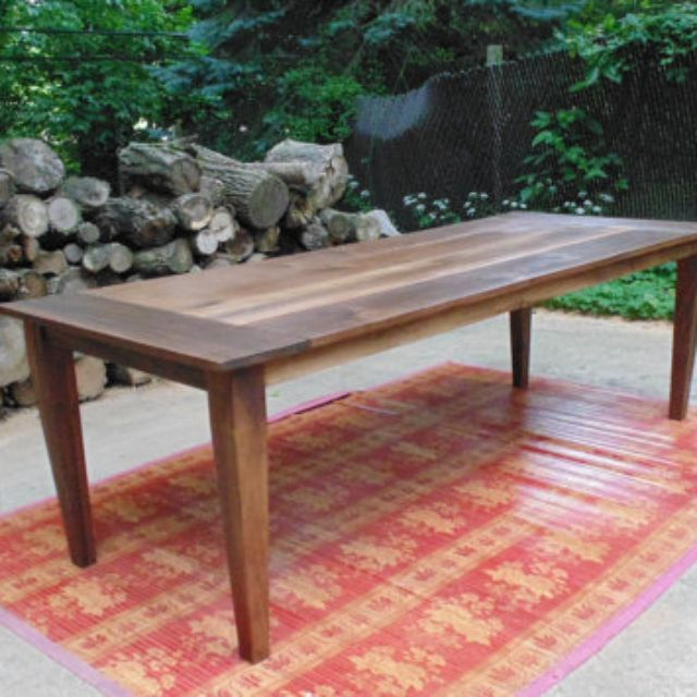 Solid Walnut Hardwood Farmhouse Table. Dining and Kitchen Tables   Farmhouse  Industrial  Modern