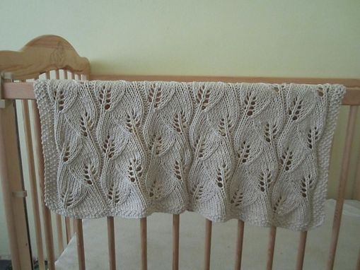 Custom Made Hand Knitted Intricate Leaf Lace Baby Blanket