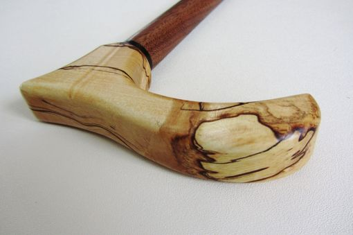 Custom Made Walking Cane/Walking Stick, Spalted Maple Top, Ebony Accent And Black Walnut Bottom Shaft