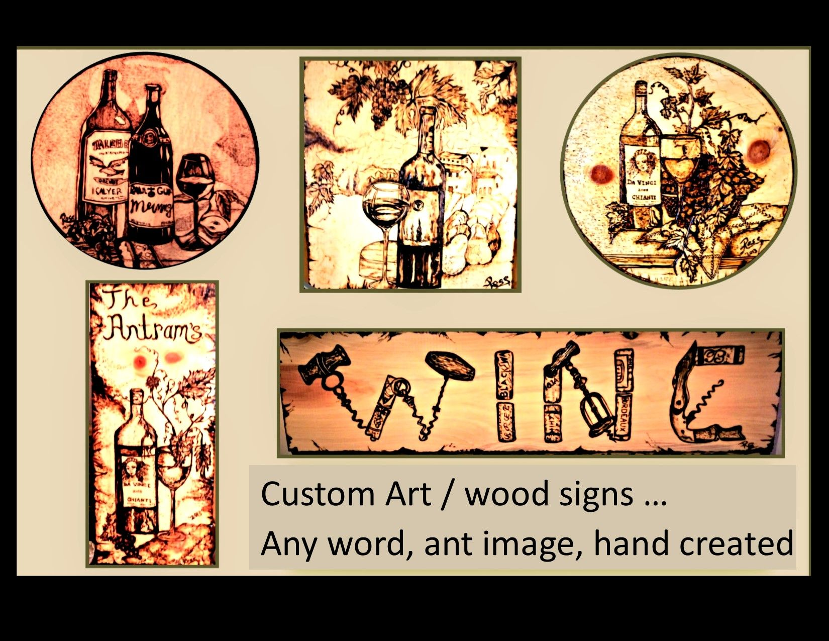 Hand Crafted Signs Plaques Word Sign Custom Wood Burned Art Wall