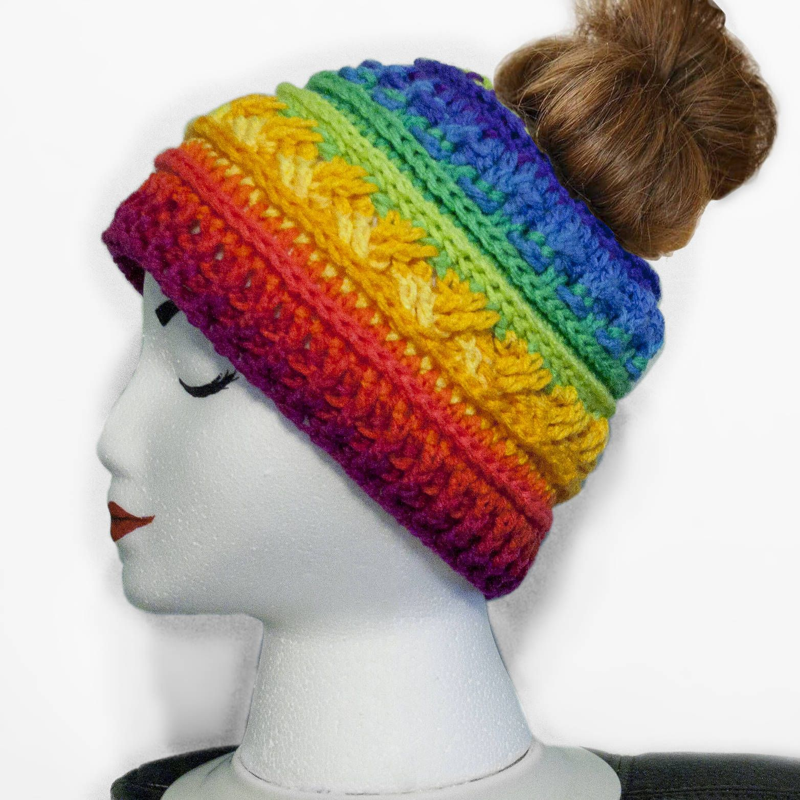 d527a7de572 Buy a Hand Made Colorful Crochet Messy Bun Beanie