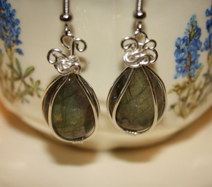 Custom Made Teardrop Labradorite Earrings Wire Wrapped In Sterling Silver Wire