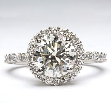 Custom Made 3ct Diamond Center- Halo Tacori Style Engagement Ring