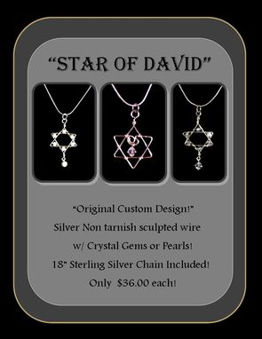 "Custom Made ""Star Of David"" Custom Designed Original Star Of David Pendant Necklace On 18"" Sterling Silver Chain!"