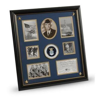 Custom Made U.S. Air Force Medallion 7 Picture Collage Frame With Stars