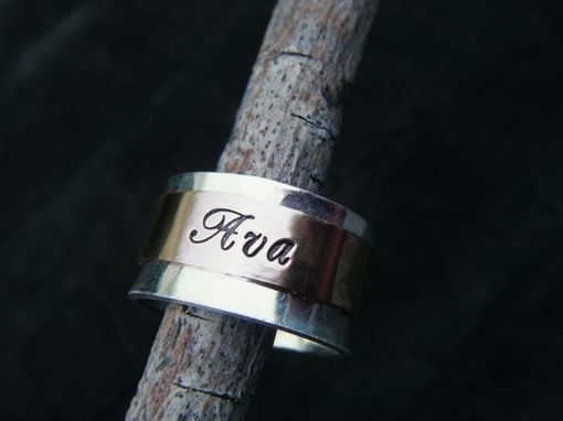 "Custom Made Hand Stamped 14k Gold Spinner Ring ""Say It On A Hand''"