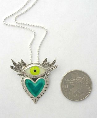 Custom Made Flying Heart Necklace, Heart With Wings Necklace, Cloisonne Enamel Jewelry