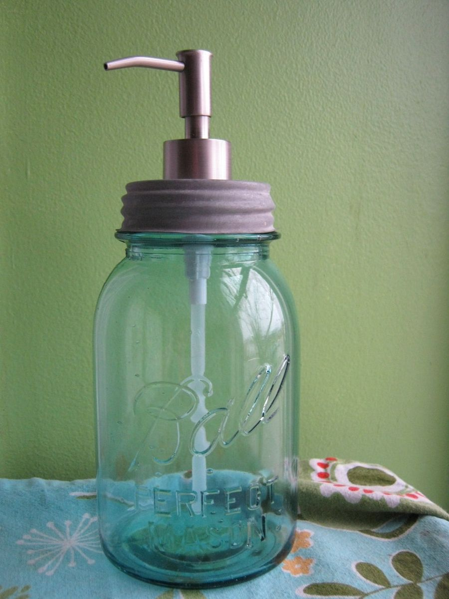 Custom Blue Mason Ball Quart Jar Upcycled Soap Dispenser
