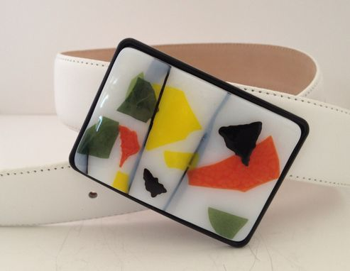 Custom Made Fused Glass Confetti Belt Buckle