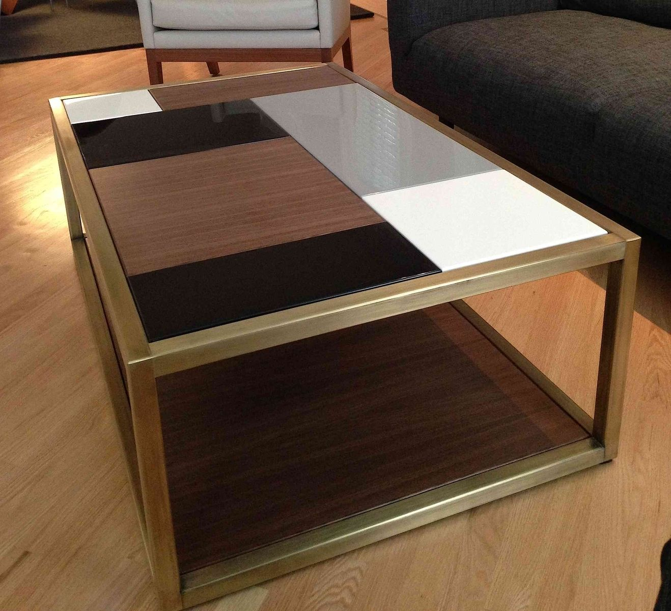 Custom metal modern coffee table base by andrew stansell for Wood coffee table kits