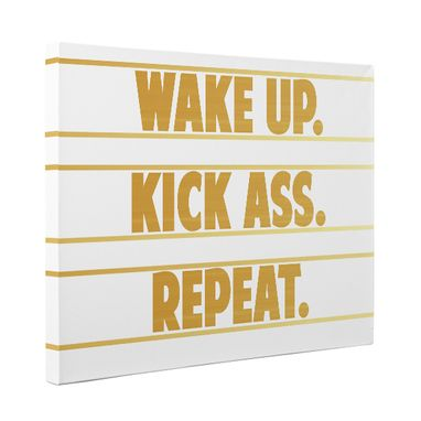 Custom Made Wake Up Kick Ass Repeat Bedroom Canvas Wall Art
