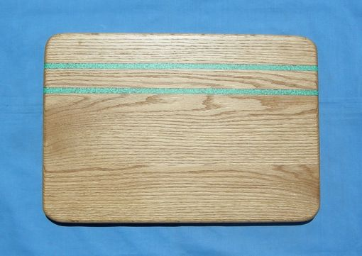 Custom Made Red Oak Serving Tray With Turquoise Inaly