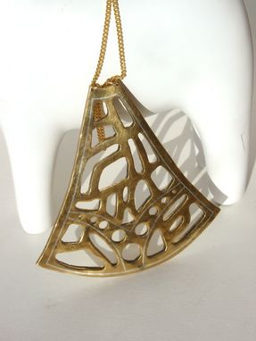 Custom Made Large Showpiece Pendant.  Sterling Silver Damascene Inlay In Brass.