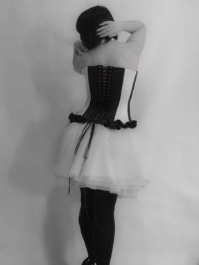 Custom Made Made To Measure- Black White And Red Steel Boned Corset