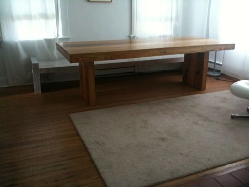 Custom Made Mediaeval Modern Elm Dining Table And Bench