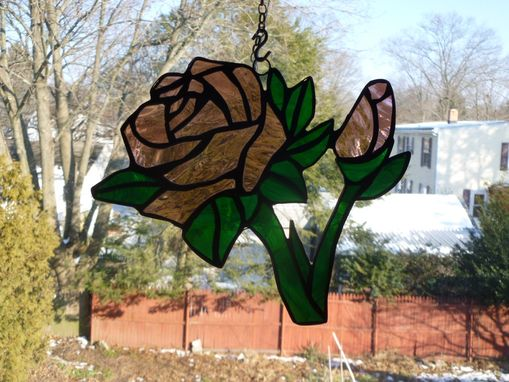 Custom Made Stained Glass Pink Rose And Bud