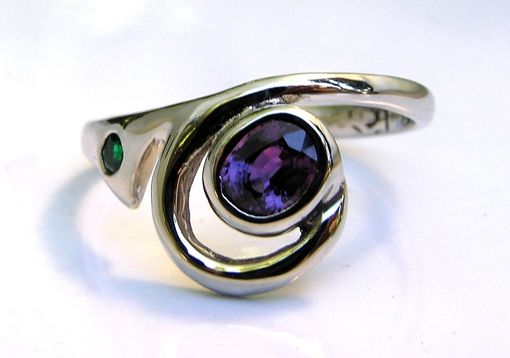 Custom Made Exotic Custom Engagement Ring - Purple Sapphire & Emerald 14k White Gold
