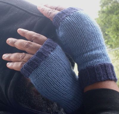 Custom Made Hand Knit Fingerless Gloves For Men Or Women / In Denim And Navy Blue