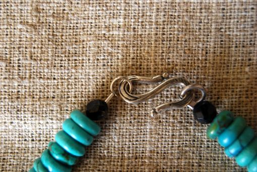 Custom Made Turquoise And Sterling Silver Wire Wrapped Black Obsidian Pendant, Native American Style Necklace